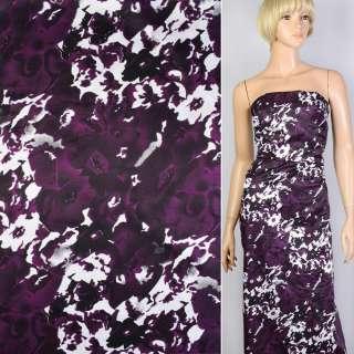 Котон атлас фіолетовий в чорно-білі квіти-абстракцію ш.147