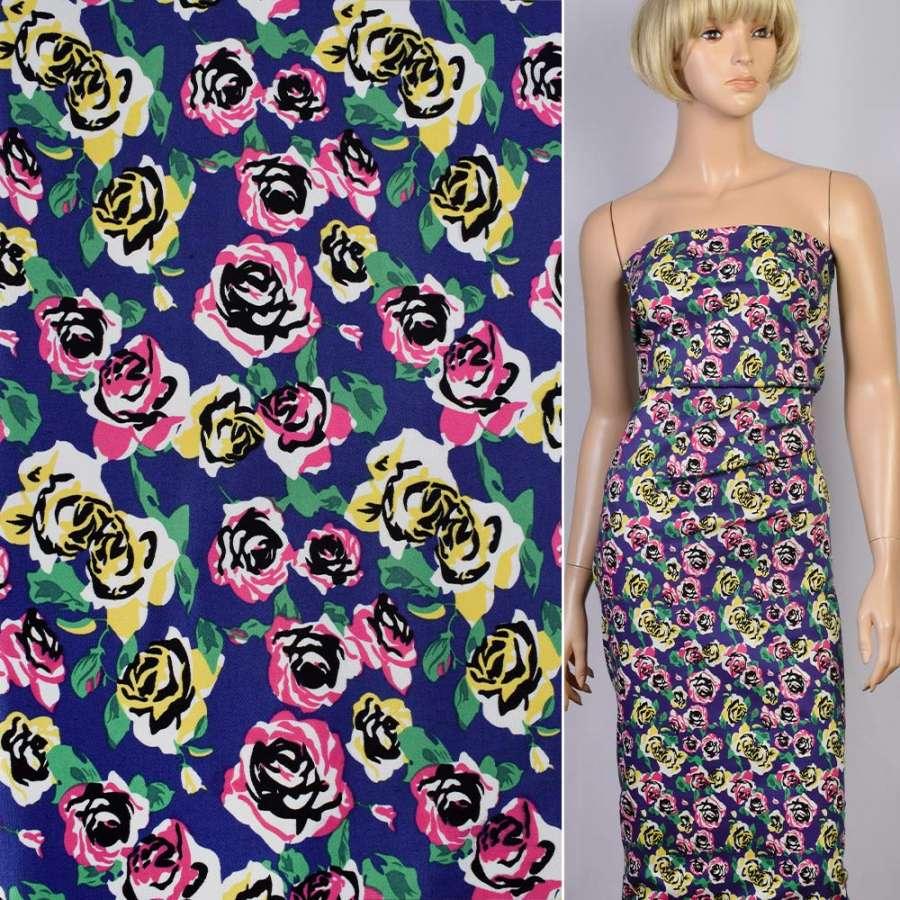 Коттон стрейч синий в розовые и желтые розы ш.145
