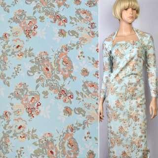 Коттон стрейч голубой в персиково-бело-зеленые цветы ш.145