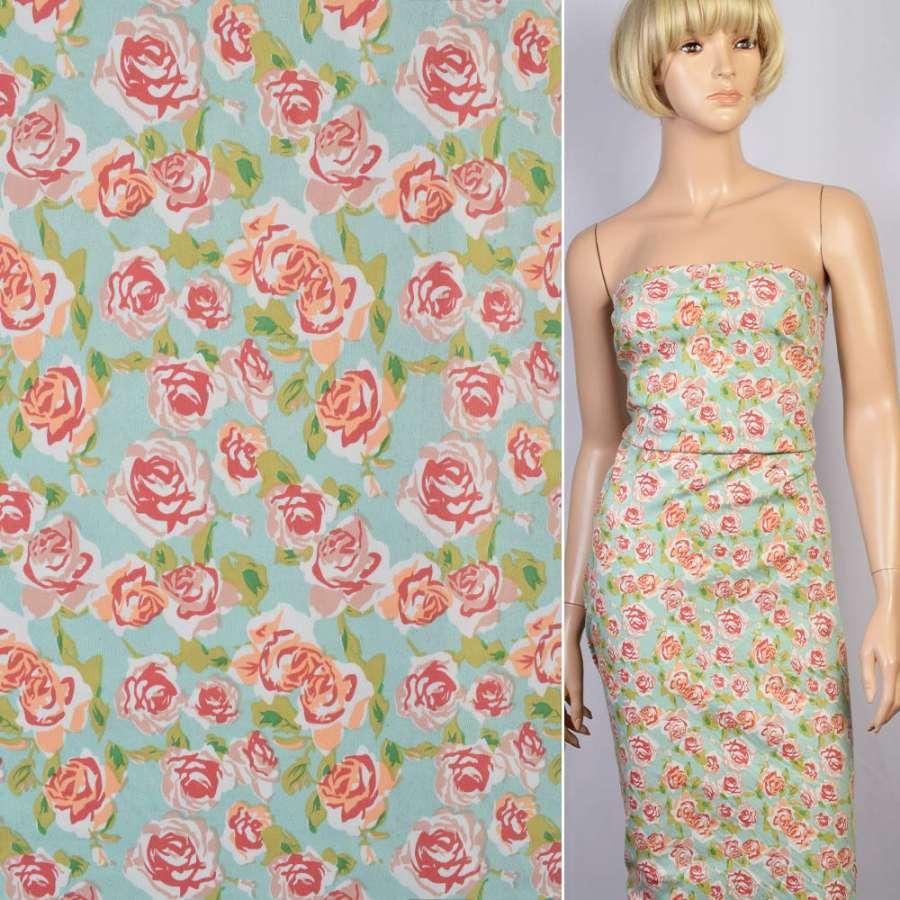 Коттон стрейч мятный в персиково-бело-зеленые цветы ш.135