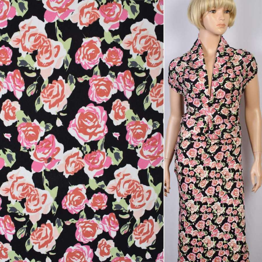 Коттон стрейч черный бело-розово-зеленые цветы ш.135