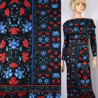 Коттон стрейч черный в красные и сине-голубые цветы ш.145