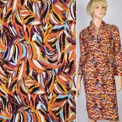 Котон стрейч чорний в оранжево-фіолетово-блакитний абстрактний малюнок, ш.145