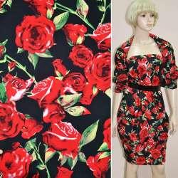 Коттон стрейч черный с красными розами ш.150