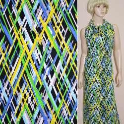 Коттон стрейч черный с желто-зеленым и сине-белым геометрическим рисунком ш.148