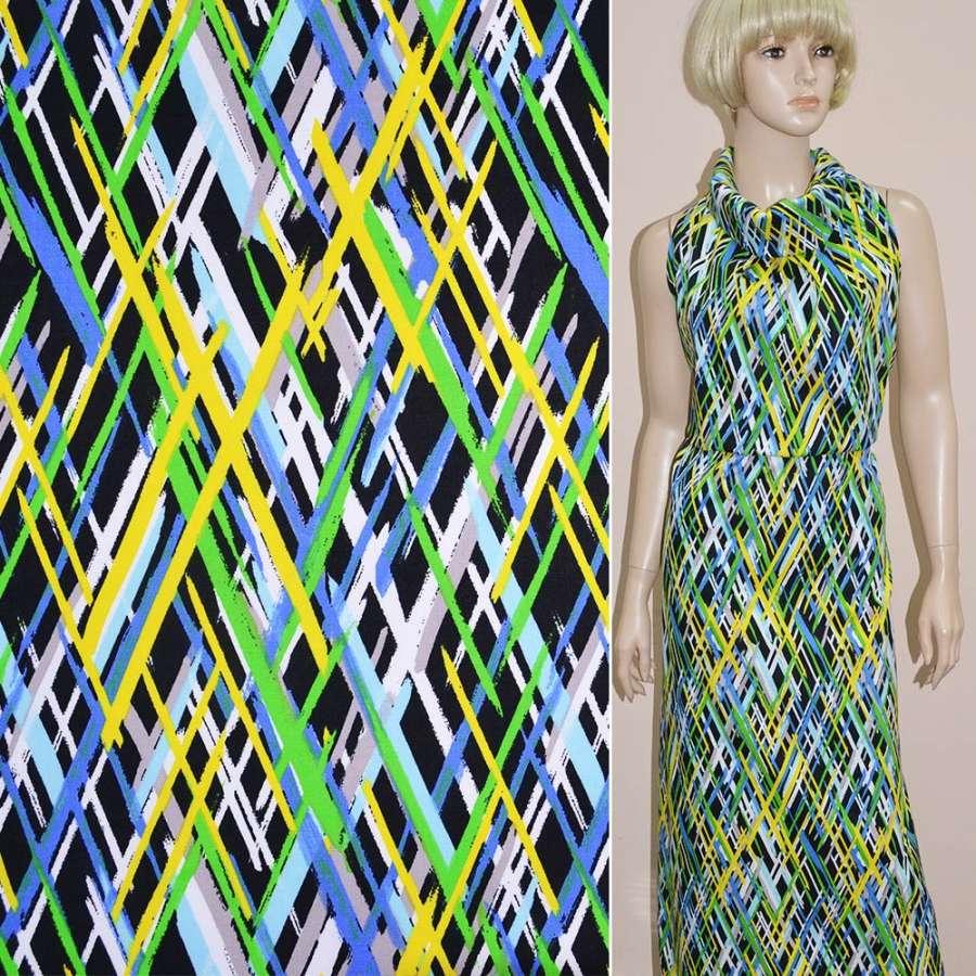 Котон стрейч чорний з жовто-зеленим і синьо-білим геометричним малюнком ш.148