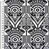 Коттон стрейч черный с белым геометрическим рисунком ш.148