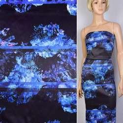 Коттон атлас черный принт сиренево-голубые цветы ш.130