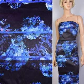 Котон атлас чорний принт бузково-блакитні квіти ш.130