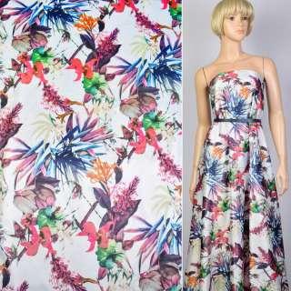 Коттон атлас белый принт розовые цветы и синие листья ш.140