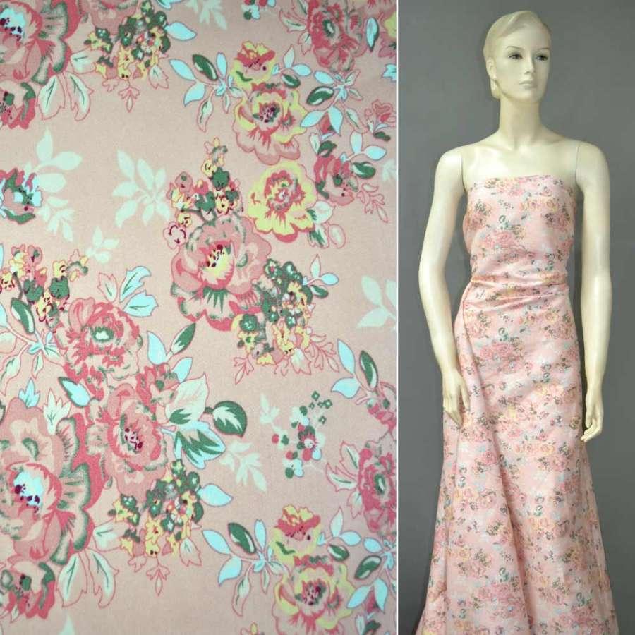 Коттон стрейч розовый с бледно-розовыми и желтыми цветами ш.142