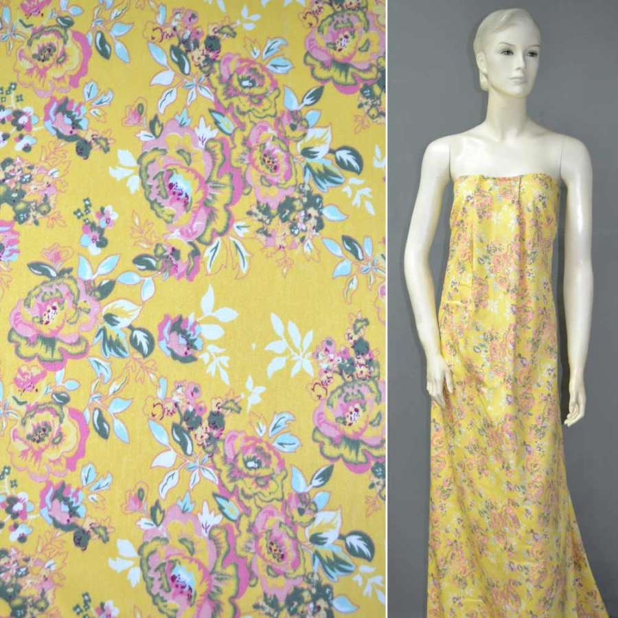 Коттон стрейч желтый с розово-оливковыми цветами ш.146