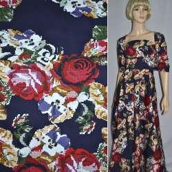 Коттон стрейч темно-синий с красно-желтыми розами ш.145