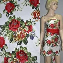 Коттон стрейч белый с красно-желтыми розами ш.145
