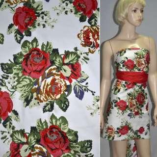 Коттон стр. белый с красно-желтыми розами ш.145