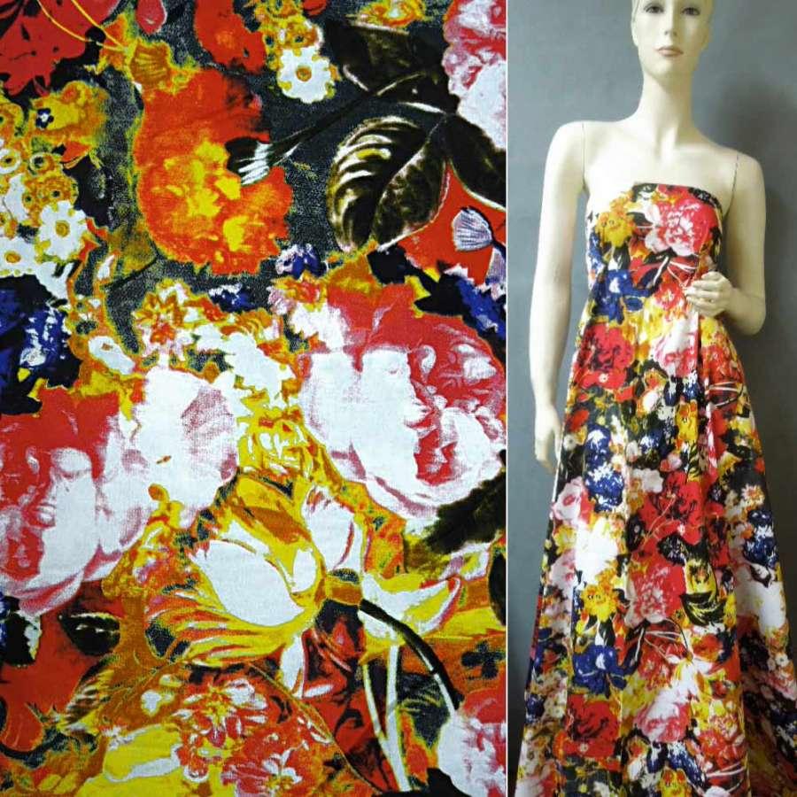 Коттон стрейч черный с желто-красными и синими цветами ш.140