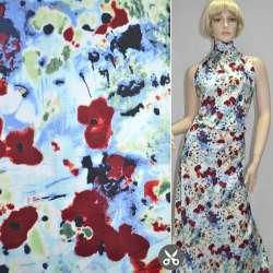 Котон стрейч синьо-білий з темно-бордовими квітами ш.130