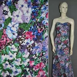 Котон стрейч з рожево-блакитними і синьо-білими квітами ш.132