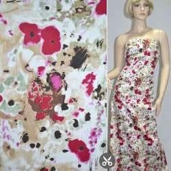 Коттон стрейч бежево-белый с вишневыми цветами ш.127