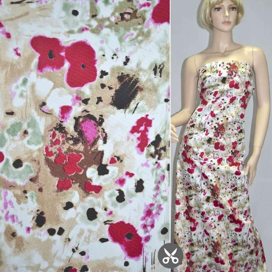 Котон стрейч бежево-білий з вишневими квітами ш.127