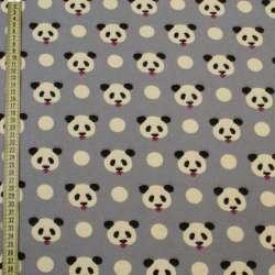 Коттон с ворсом* серый, мишки панды, ш.145