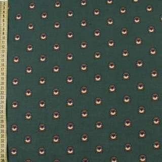 Коттон с ворсом* зеленый темный, коричневые совы, ш.150