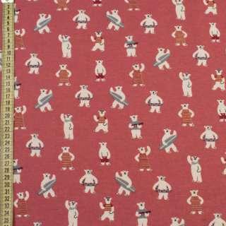 Коттон с ворсом* розовый темный, белые медведи на пляже, ш.145