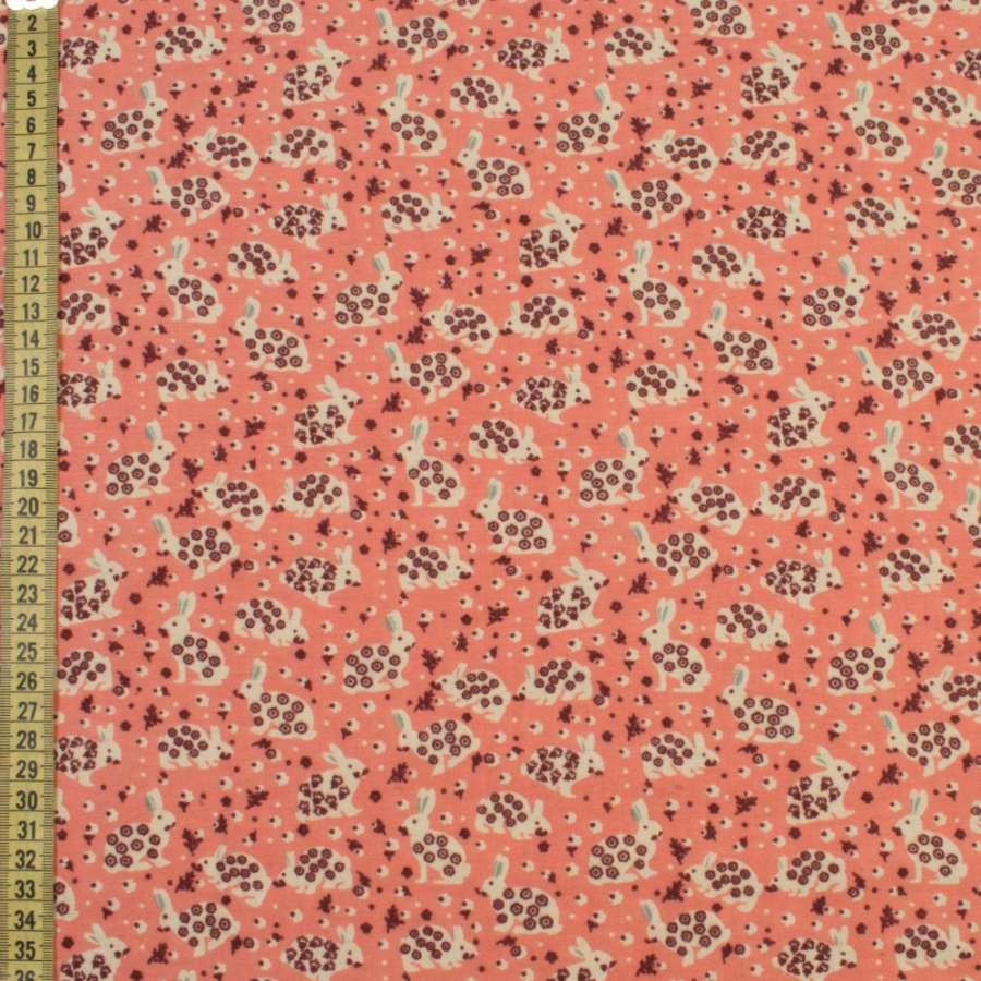 Коттон с ворсом* коралловый, зайки в цветочек, ш.140