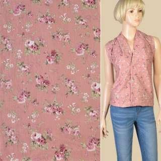 Котон фрезовий в рожеві троянди, ш.145