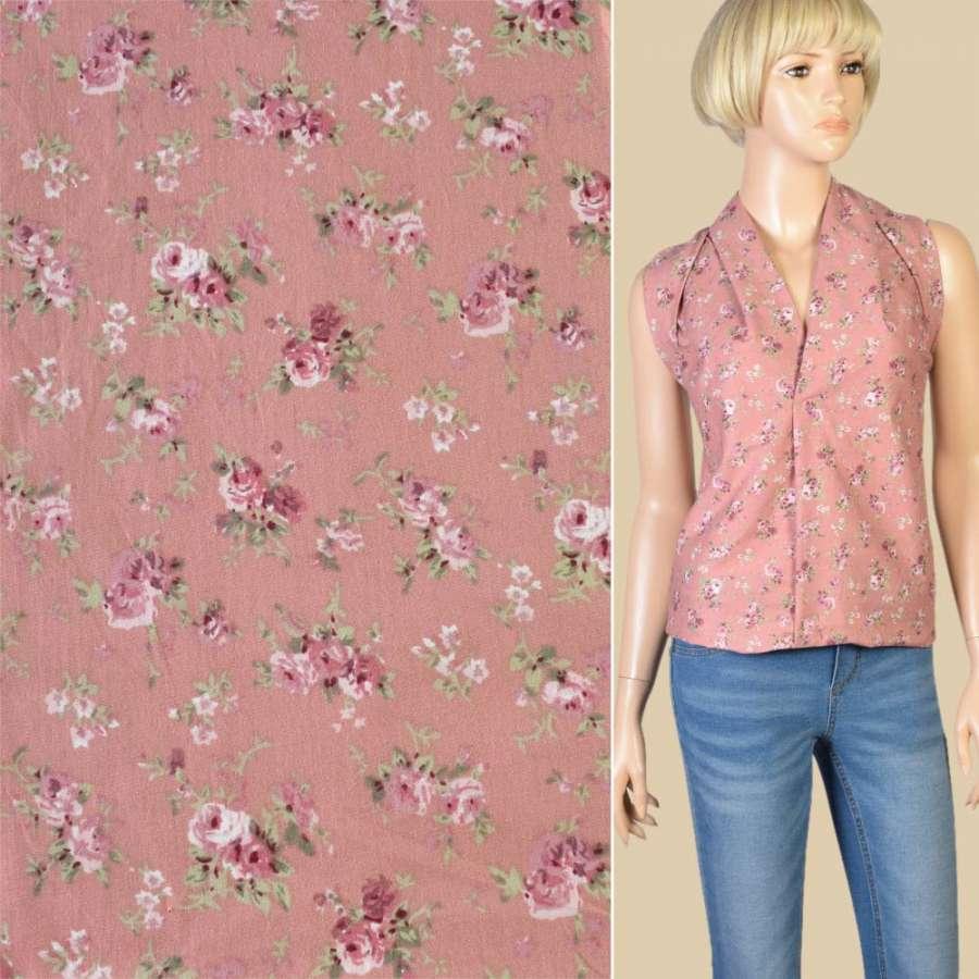Коттон фрезовый в розовые розы, ш.145