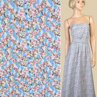 Коттон белый в мелкие голубые и розовые цветы, ш.150