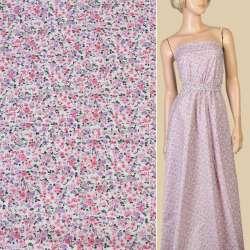 Коттон белый в мелкие розовые, серые, сиреневые цветы, ш.145