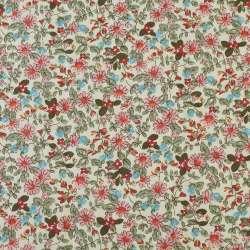 Коттон кремовый в розовые, голубые цветы, оливковые ветки, ш.145