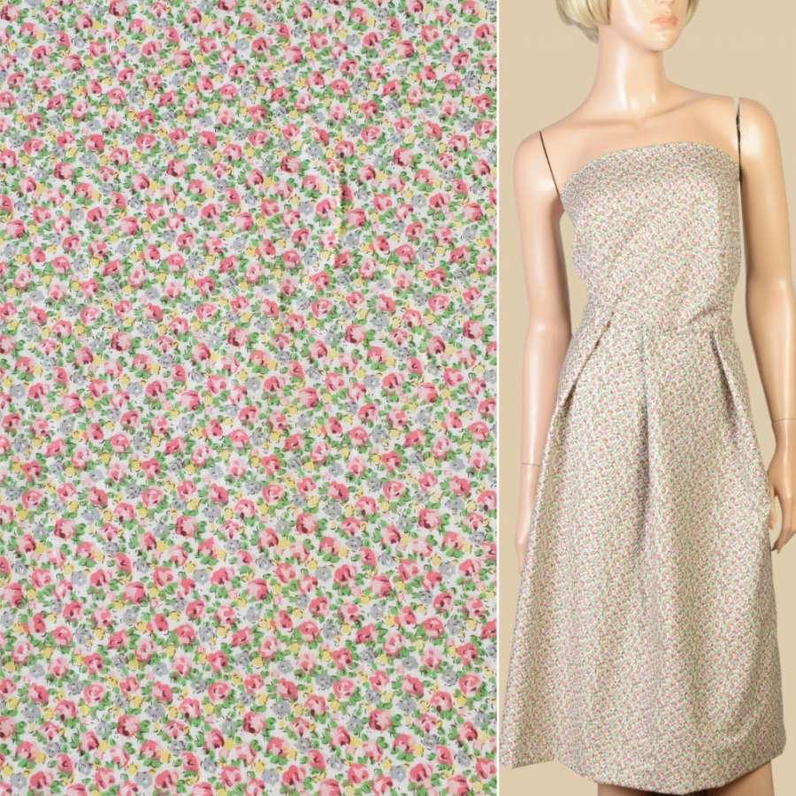 Коттон белый в мелкие розово-желтые цветы, ш.145