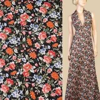 Котон чорний в помаранчеві, коричневі квіти, ш.147
