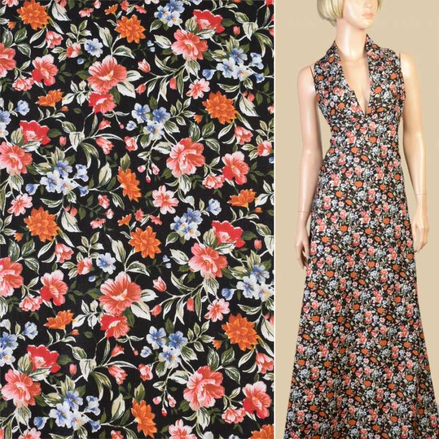 Коттон черный в оранжевые, коричневые цветы, ш.147