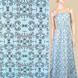 Коттон голубой в бело-синие цветы, орнамент, ш.145