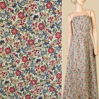 Коттон бежевый в красные, голубые, бежевые цветы, ветки, ш.150