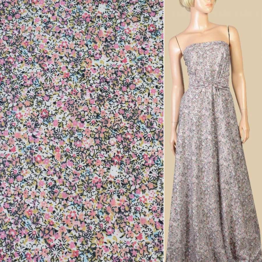 Коттон белый в розово-сиреневые мелкие цветы, ш.145