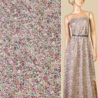 Коттон бежевый в розово-сиреневые мелкие цветы, ш.145