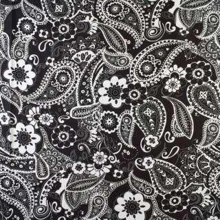 Коттон черный в большие белые цветы, огурцы, ш.145
