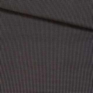 Коттон-стрейч черный в розовую точку, ш.150