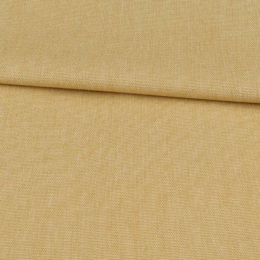 Коттон меланж стрейч горчичный светлый полотняный, ш.145