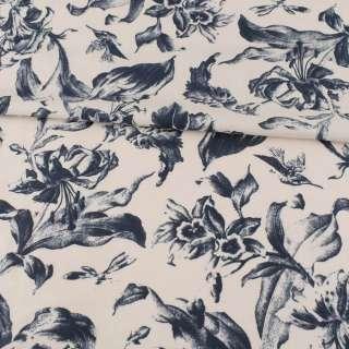 Коттон серый, темно-синие лилии, ш.148