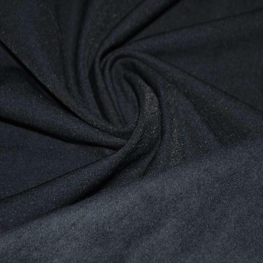 Котон стрейч костюмний з начосом синій темний ш.140