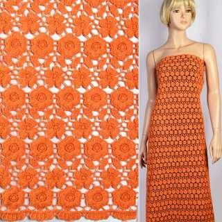 Кружево макраме в оранжевые маленькие цветочки 15мм ш.117