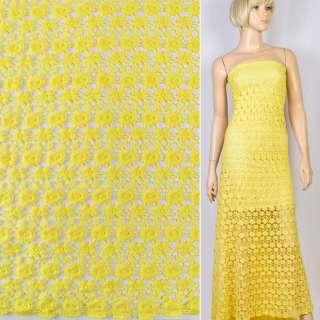Кружево макраме желтое маленькие цветочки 15мм ш.120