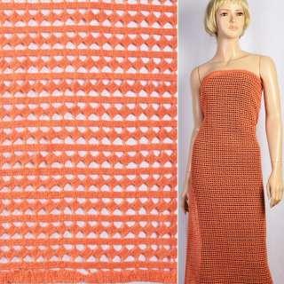 Кружево макраме оранжевое в ряды полосы, ромбы ш.127