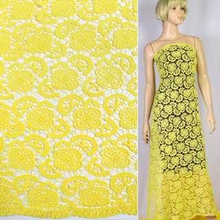 Кружево макраме желтое цветы, листья 5см ш.130