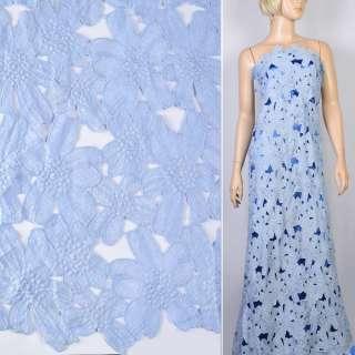 Мереживо макраме блакитне в квіточки 13см ш.125